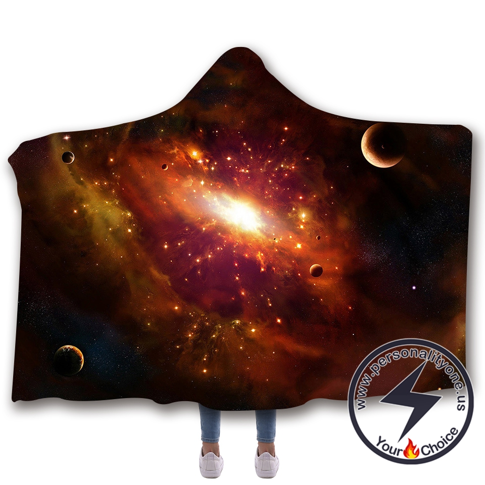 3D Cosmic starry sky Hooded Blanket #10003