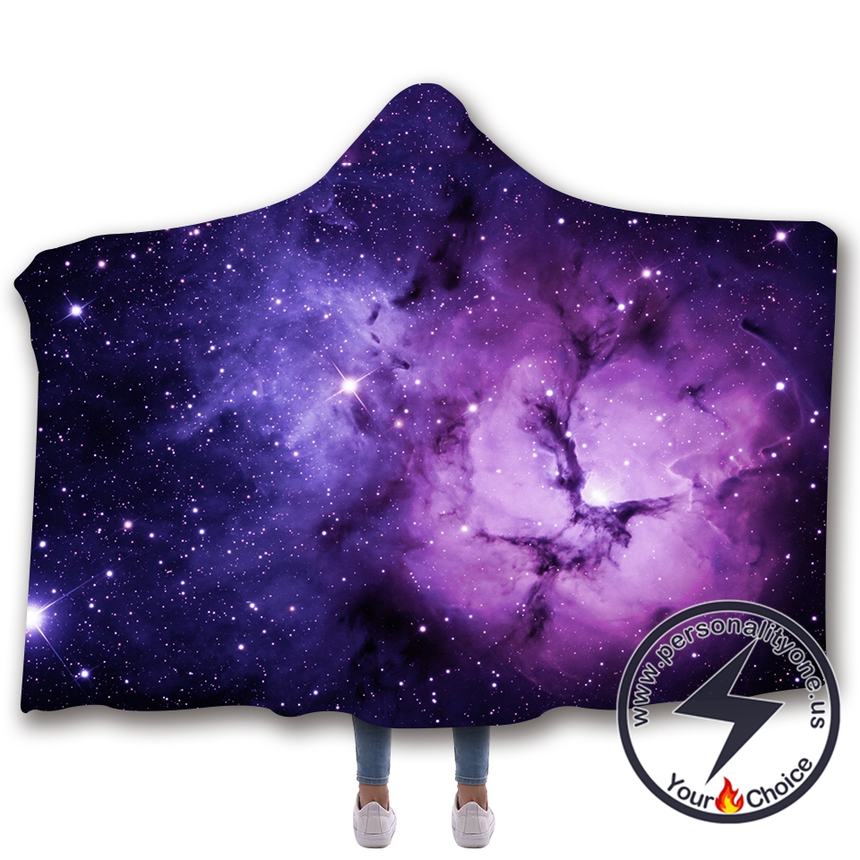 3D Cosmic starry sky Hooded Blanket #10008