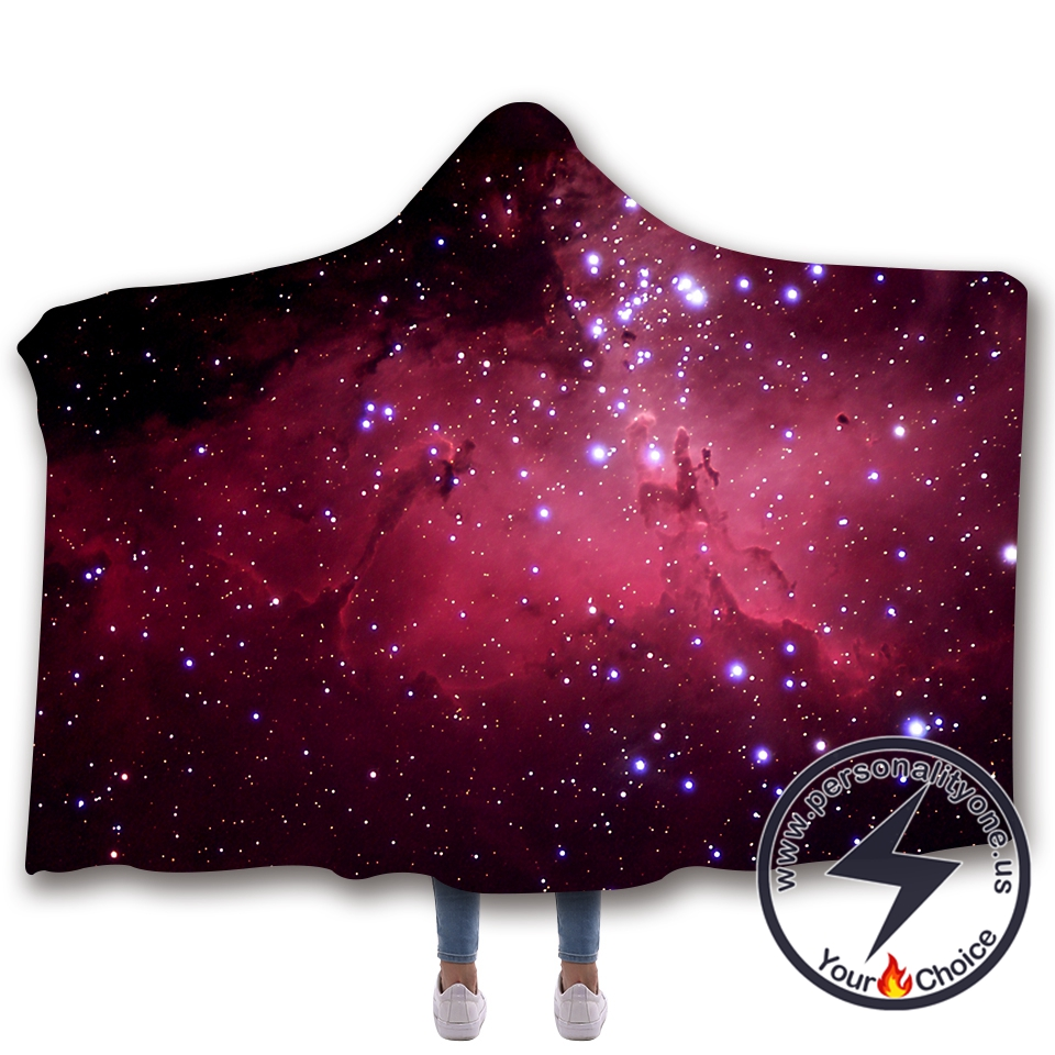 3D Cosmic starry sky Hooded Blanket #10009
