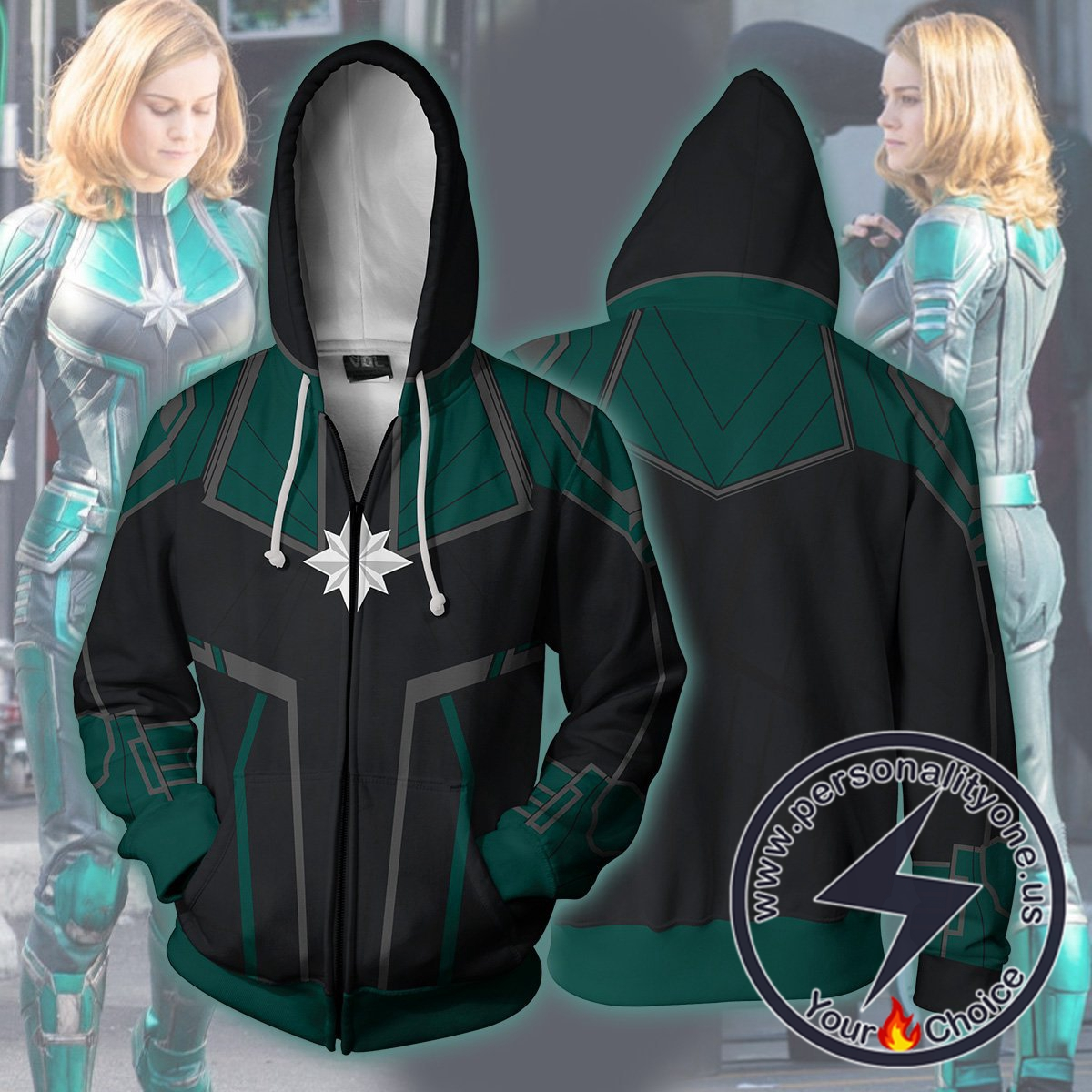 Avengers Infinity War Hoodie - Captain Marvel Green Suit Jacket