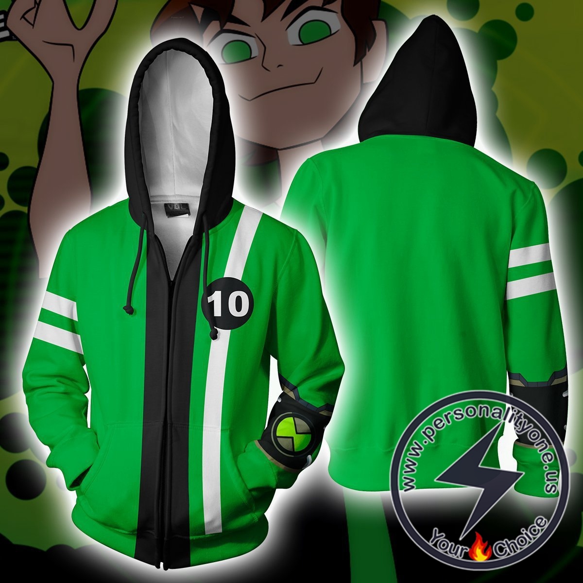 Ben 10 Green Costume Zip Up Hoodie Jacket
