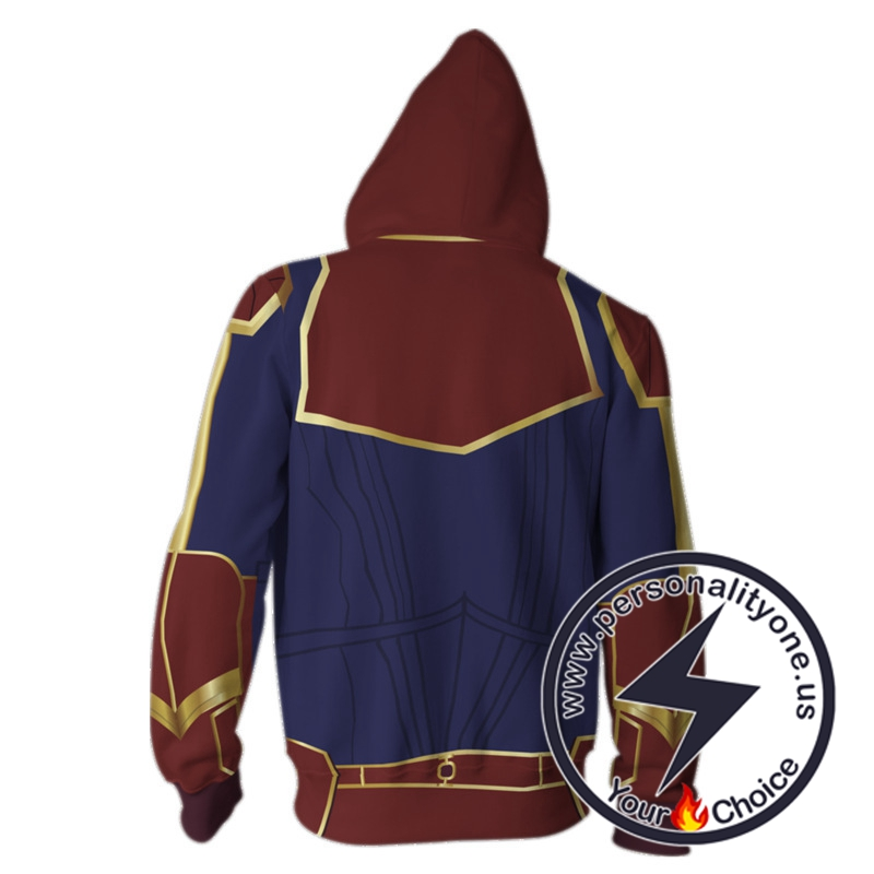 Captain Marvel Cosplay Costume Carol Danvers-Captain Marvel Zip Up Hoodie