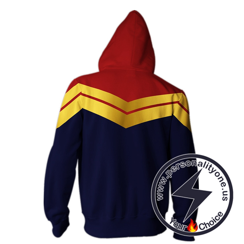Captain Marvel Hoodie-Captain Marvel Zip Up Hoodie #19002