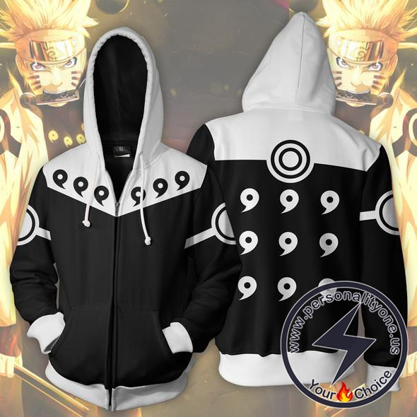 Naruto 6 Paths Black Zip Up Hoodie Jacket