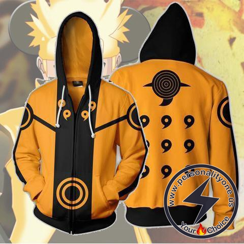 Naruto Kurama Zip Up Hoodie Jacket