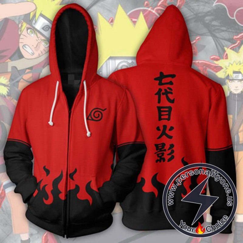 Naruto Uzumaki Naruto Hokage Red Zip Up Hoodie Jacket