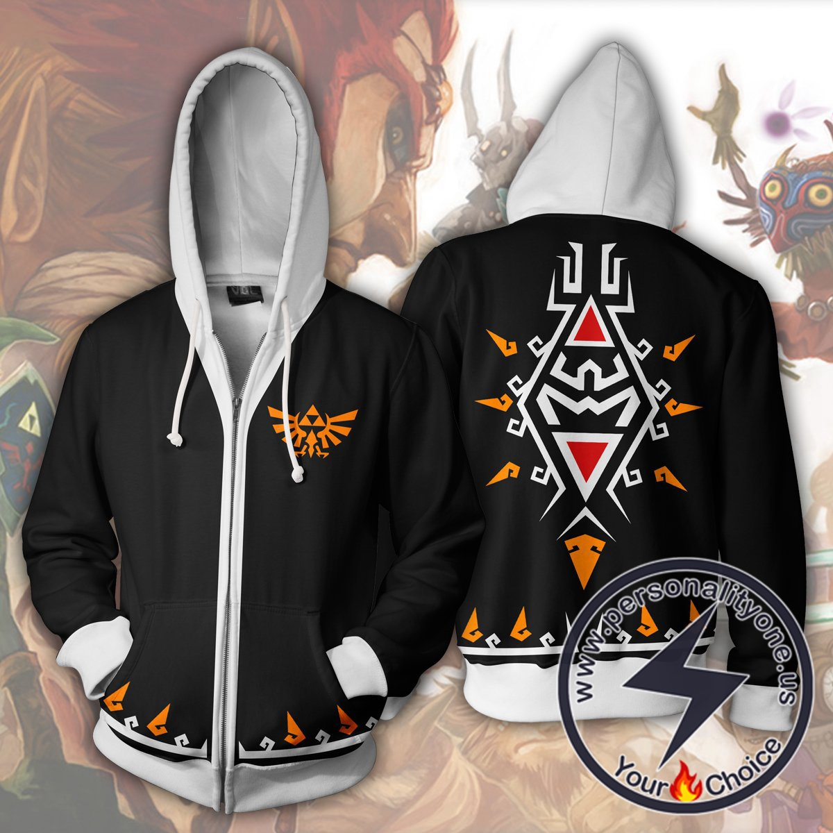 The Legend of Zelda Hoodies - The Legend of Zelda Link Black Zip Up Hoodie Jacket