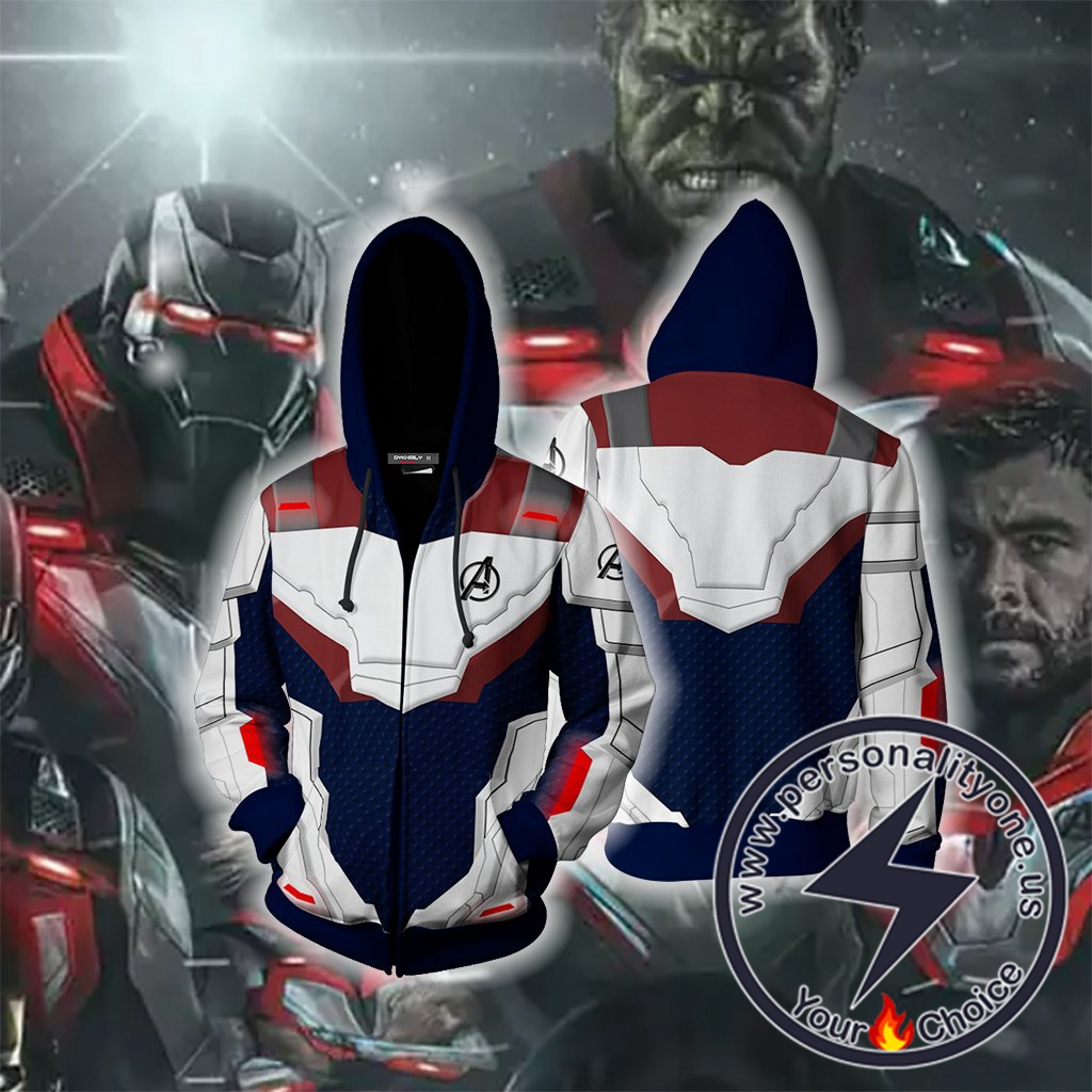 The Avengers 4 Avengers:End game the Advanced Tech Suits Blue Suit Cosplay Zip Up Hoodie Jacket