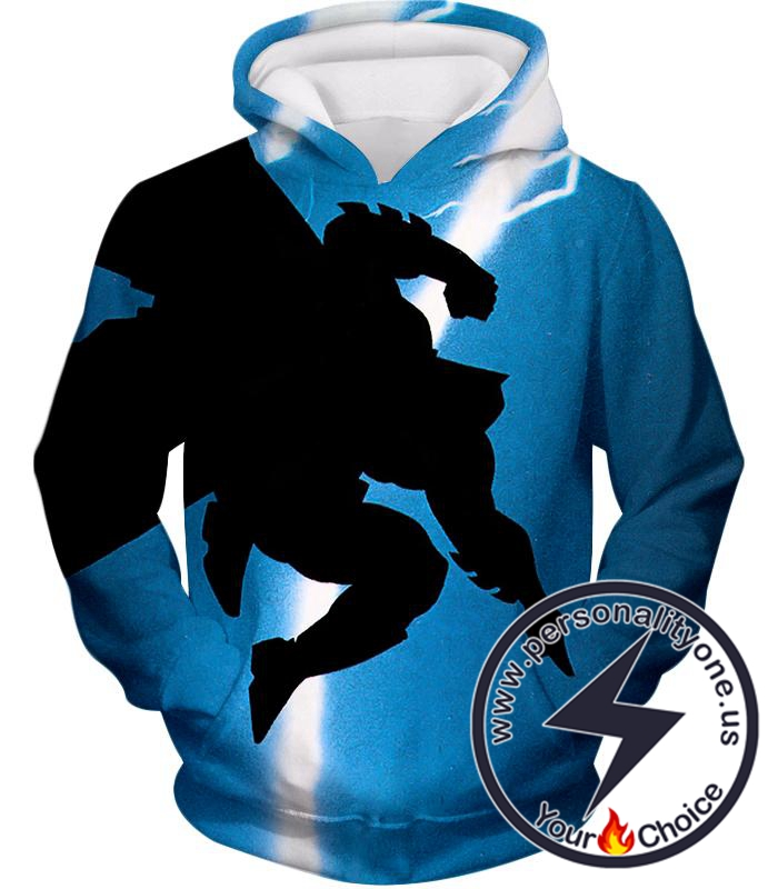 Amazing Action Batman Awesome Shadow Print Blue Hoodie