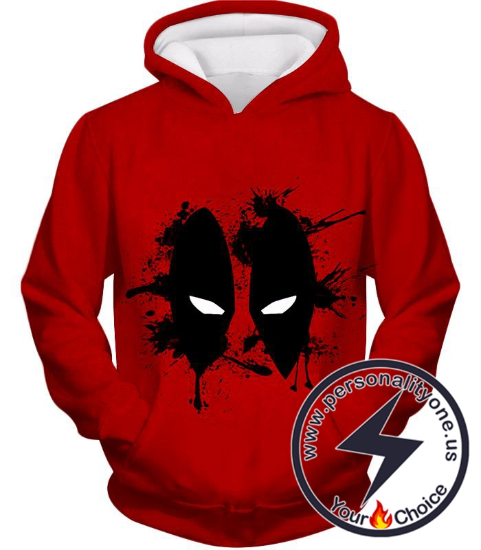 Amazing Red Deadpool Masked Patterned Promo Hoodie