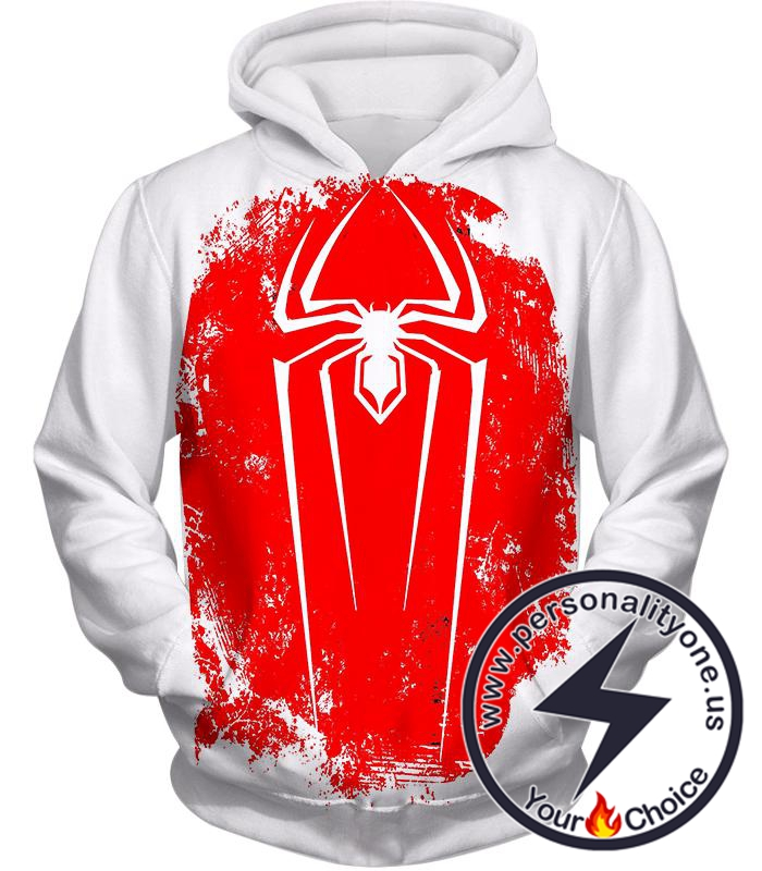 Amazing Spiderman Red Logo Promo White Hoodie