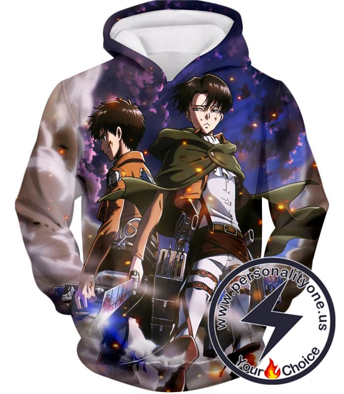 Attack on Titan Awesome Captain Levi and Eren Yeager Hoodie