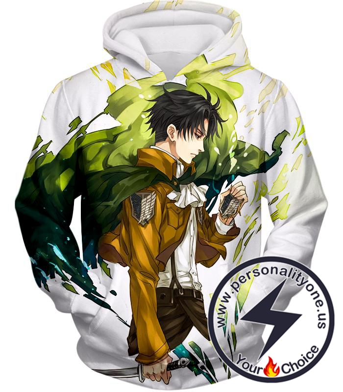Attack on Titan Awesome Survey Corp Soldier Levi Ackerman Ultimate Anime White Hoodie