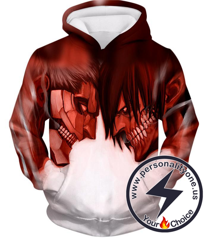 Attack on Titan Cool Armoured Titan Vs Eren Yeager White Printed Hoodie