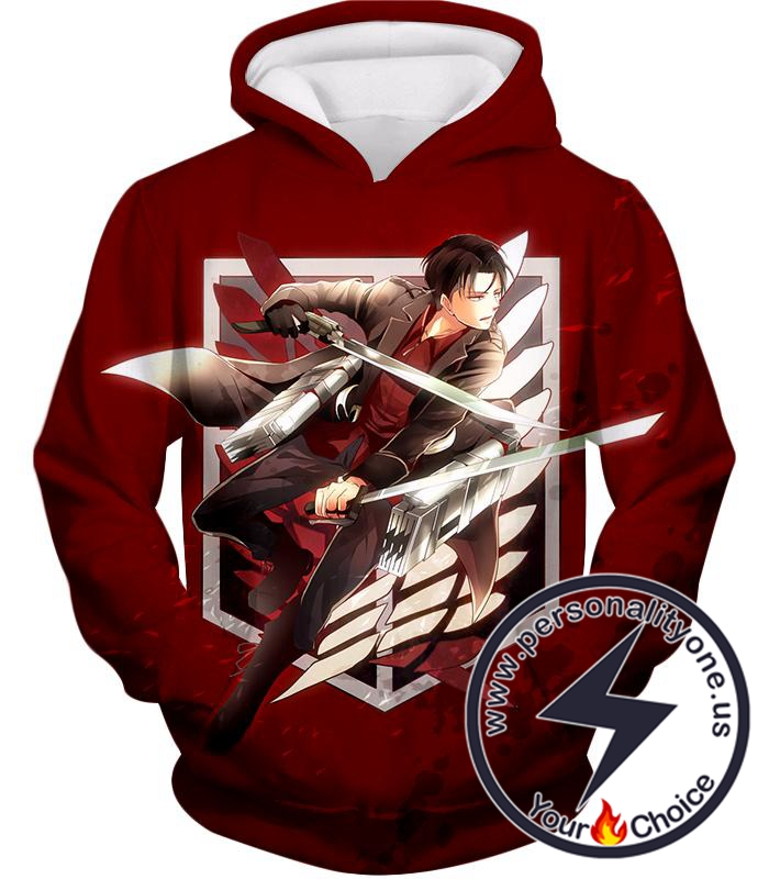 Attack on Titan Humanitys Strongest Soldier Levi Ackerman of Survey Corps Cool Red Hoodie