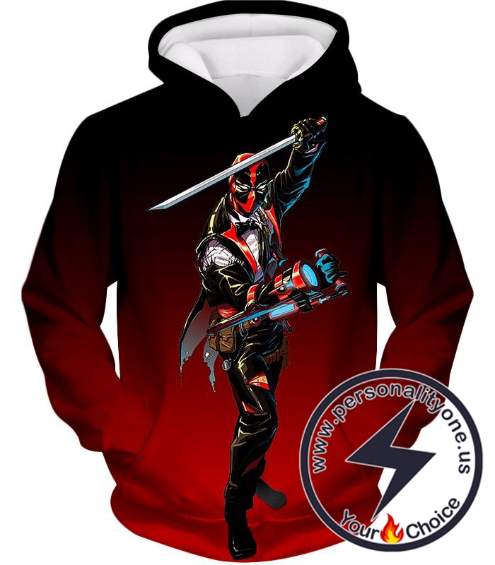 Awesome Deadpool Suit-Up Action Black Hoodie