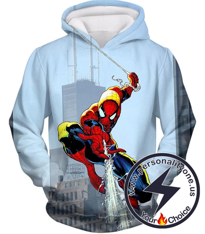 Awesome Web Slinging Hero Spiderman Animated Action Hoodie
