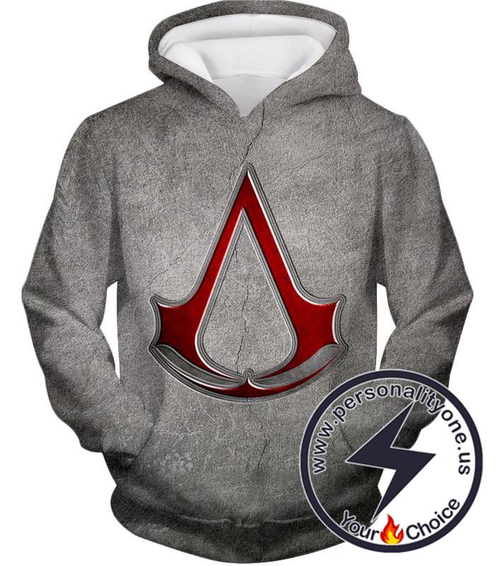 Cool Assassin's Creed Symbol Awesome Promo Grey Hoodie