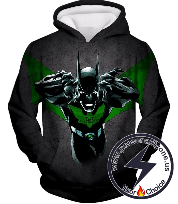 Cool Batman Merge Green Lantern Action Grey Hoodie