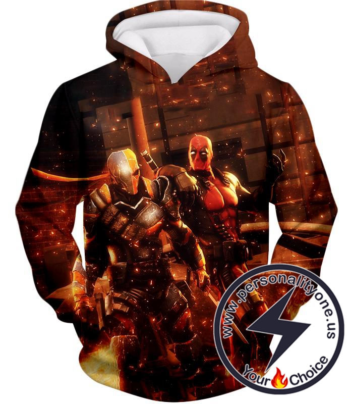 Cool Deadpool and Deathstroke Super Fan Art Hoodie
