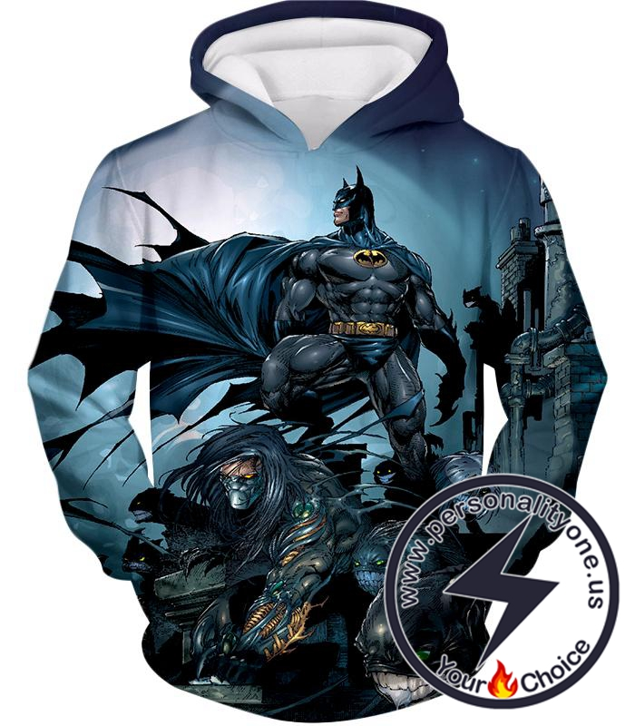 Cool Gotham Warrior Batman Conquering Villains Awesome Animated Hoodie