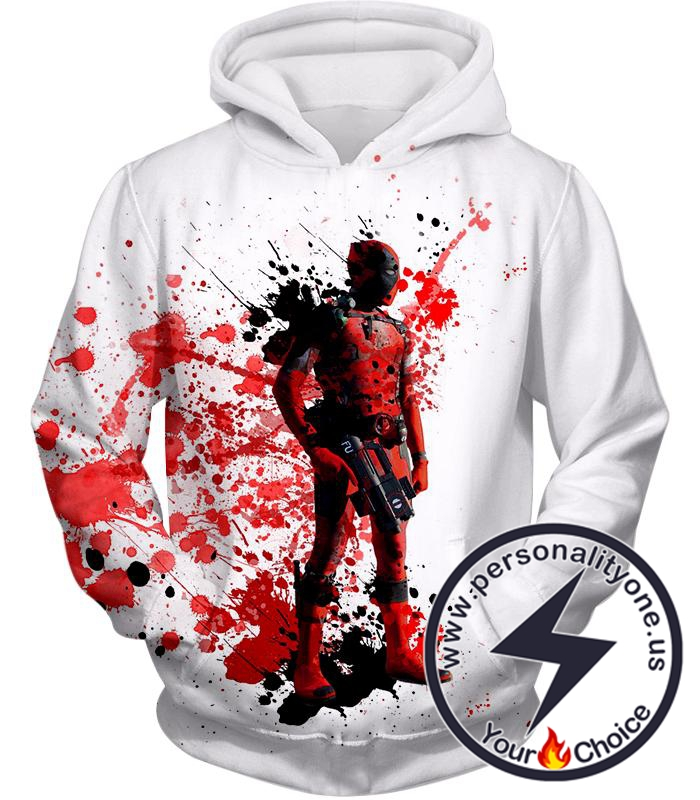 Deadly Mercenary Deadpool Awesome White Hoodie