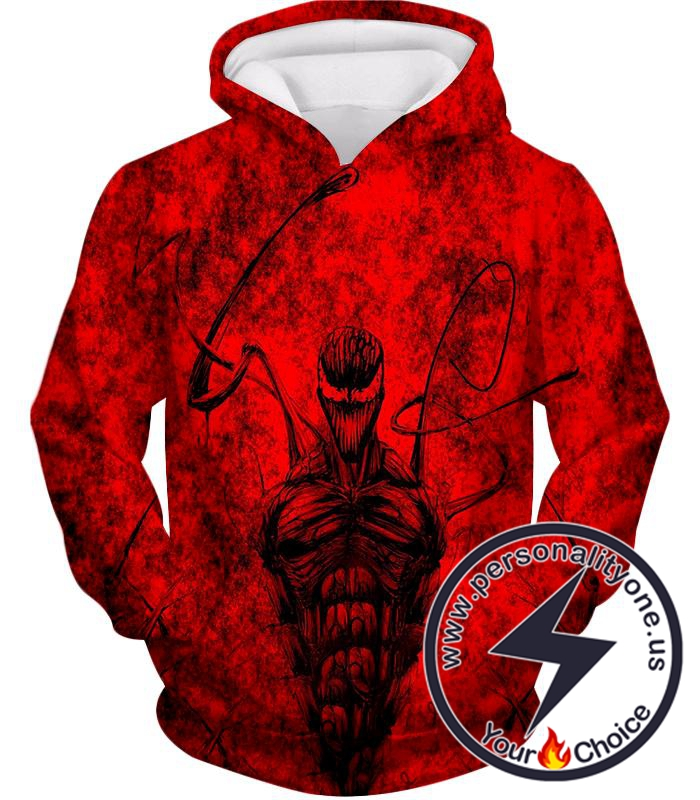 Deadly Spiderman Villain Carnage Blood Red Hoodie