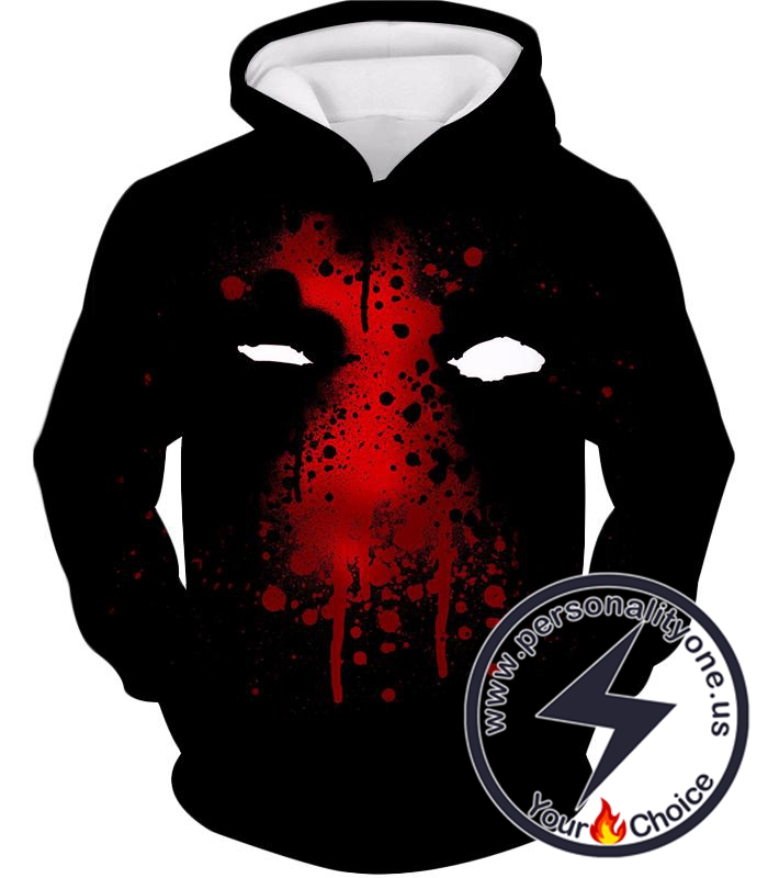 Deadpool Promo Mask Fan Art All Black Hoodie