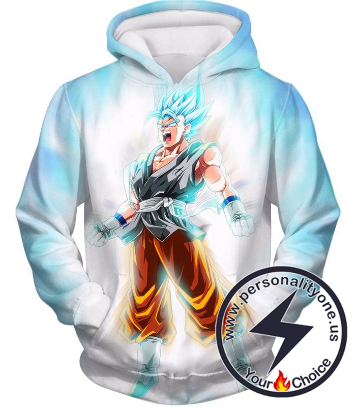 Dragon Ball Super Awesome Fusion Hero Vegito Super Saiyan Blue Action White Hoodie