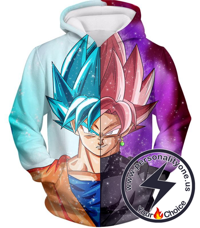 Dragon Ball Super Awesome Graphic Goku Super Saiyan Blue X Zamasu Super Saiyan Rose Cool Anime Hoodie