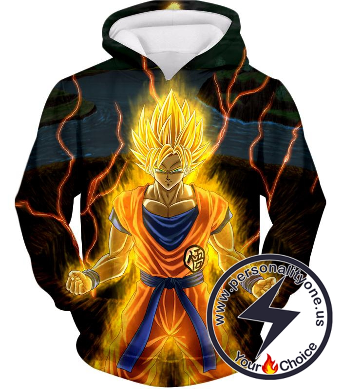Dragon Ball Super Awesome Super Saiyan 2 Goku Cool Anime Promo Graphic Hoodie