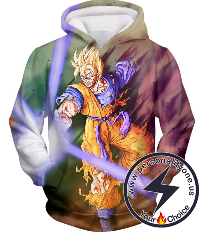 Dragon Ball Super Awesome Super Saiyan Goku One Handed Battle Action Hoodie