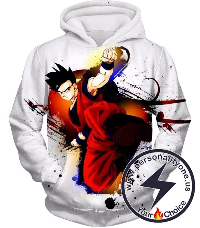 Dragon Ball Super Cool Fighter Gohan Action Awesome White Anime Hoodie