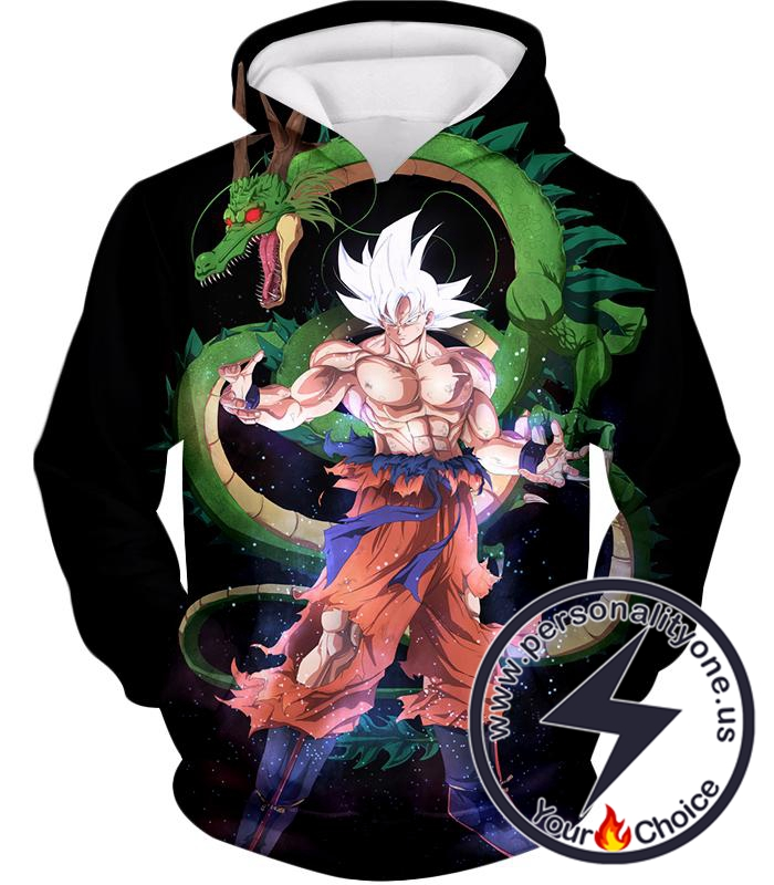 Dragon Ball Super Cool Hero Goku Super Saiyan White X Dragon Shenron Awesome Black Hoodie
