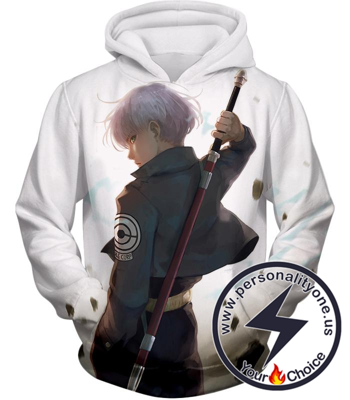 Dragon Ball Super Extremely Cool Future Trunks Awesome Graphic White Hoodie