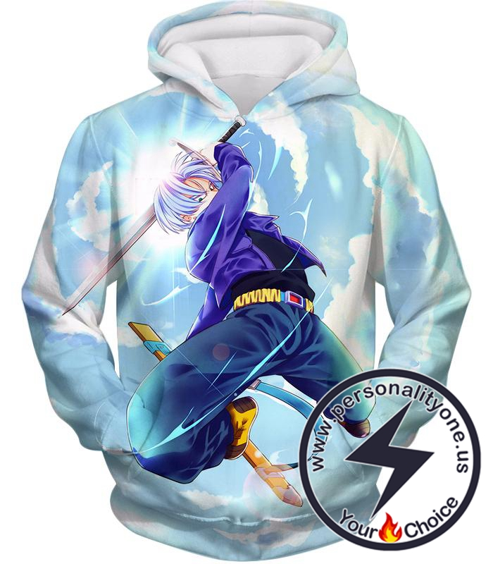 Dragon Ball Super Extremely Powerful Hero Future Trunks Awesome Action White Hoodie