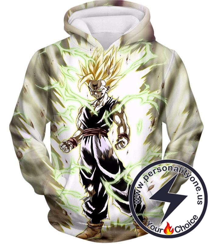 Dragon Ball Super Favourite Fighter Gohan Super Saiyan 2 Awesome Action White Hoodie