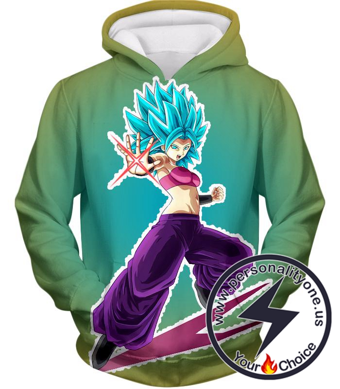 Dragon Ball Super Godly Form Caulifla Super Saiyan Blue Awesome Action Promo Hoodie