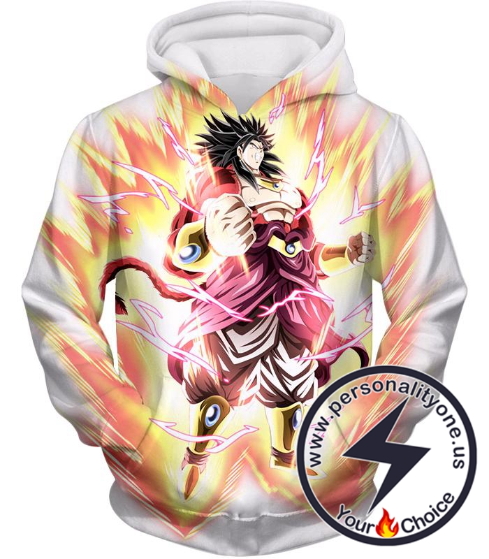 Dragon Ball Super Legendary Saiyan Warrior Broly Ultra Instinct Rising Awesome White Hoodie