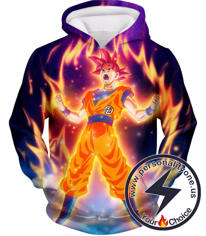 Dragon Ball Super Reaching God Level Super Saiyan God Goku Cool Action Promo Hoodie