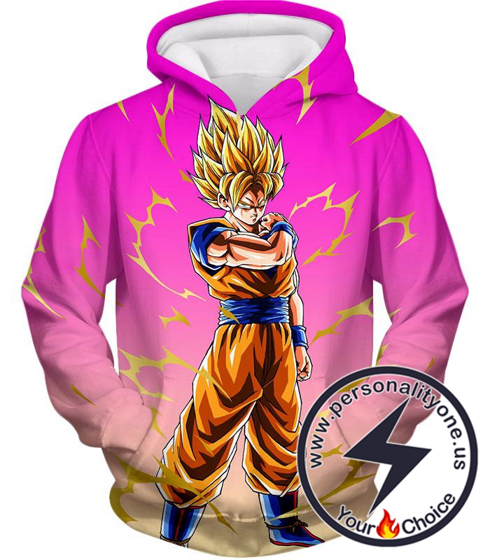 Dragon Ball Super Rising Levels Goku Super Saiyan 2 Cool Anime Pink Hoodie