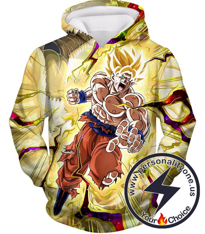 Dragon Ball Super Super Saiyan 2 Goku Incredible Power Action Cool Graphic Hoodie