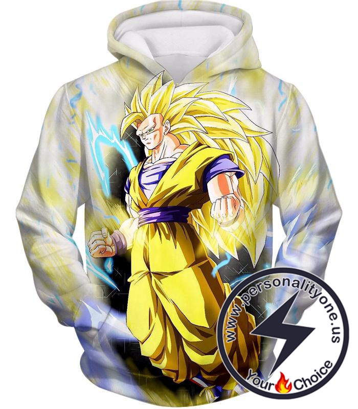 Dragon Ball Super Ultimate Goku Super Saiyan 3 Awesome Anime White Hoodie