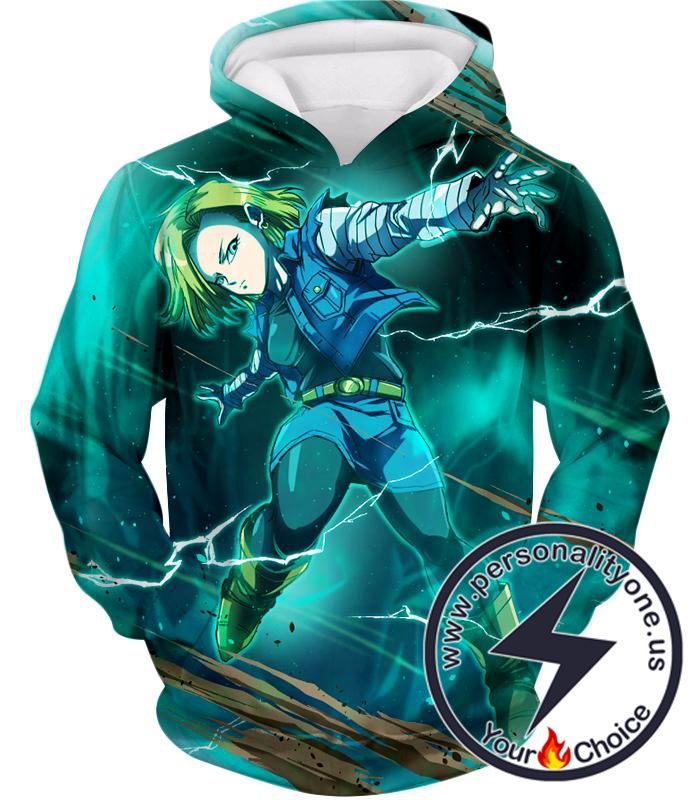 Dragon Ball Super Very Cool Action Hero Android 18 Awesome Graphic Promo Hoodie