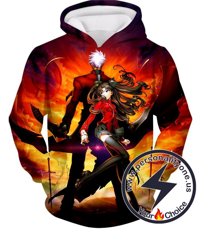 Fate Stay Night Cool Rin Tohsaka and Archer Action Hoodie
