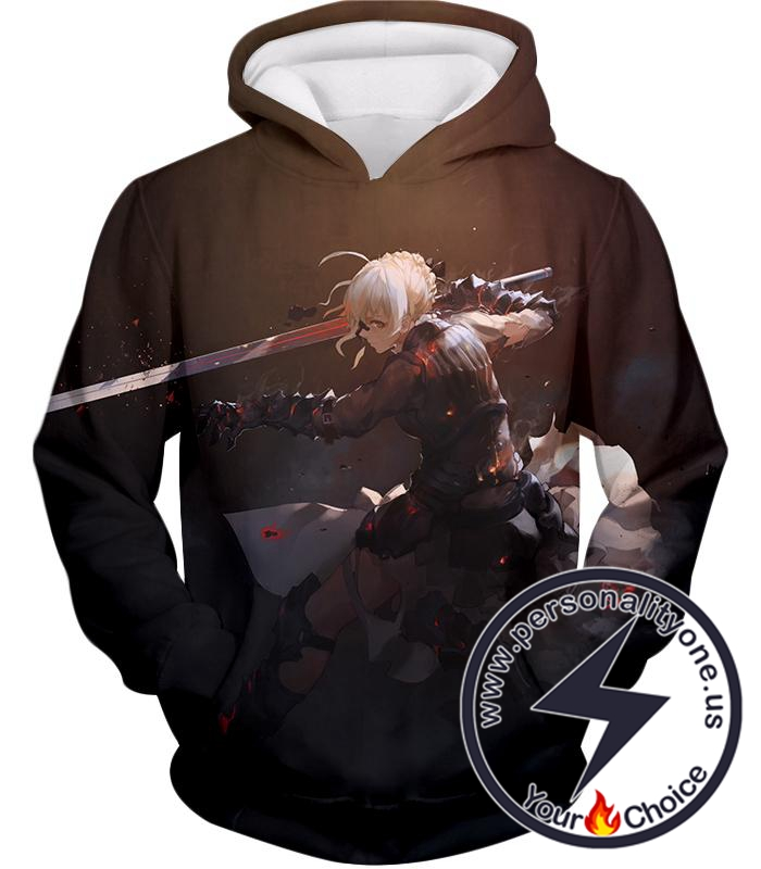 Fate Stay Night Cool Saber Alter Arturia Browm Action Hoodie