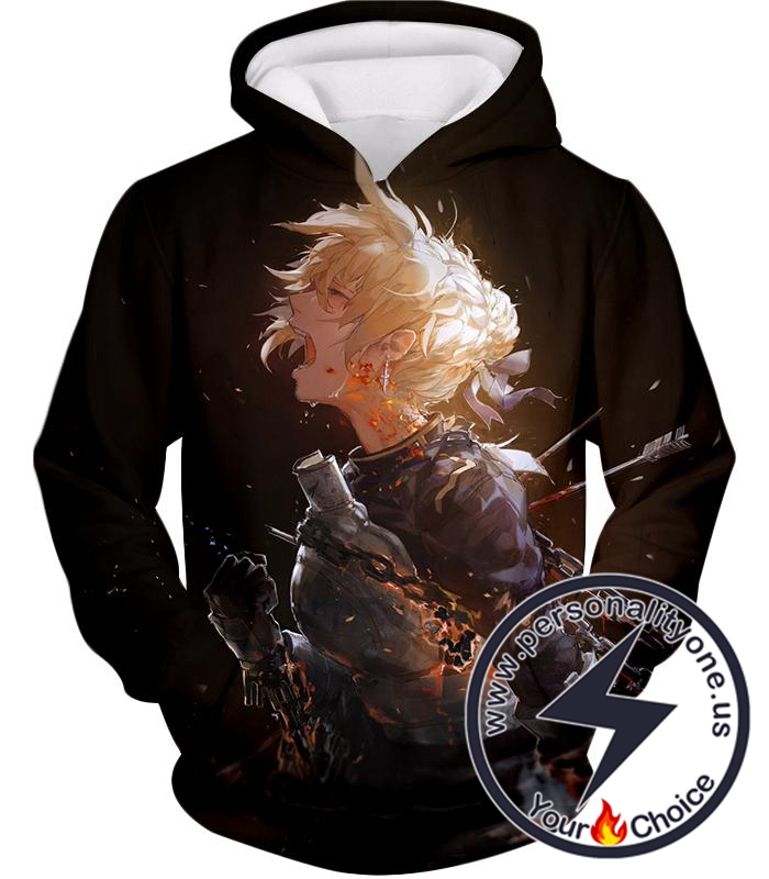Fate Stay Night Pain and Grief Arturia Pendragon Black Action Hoodie