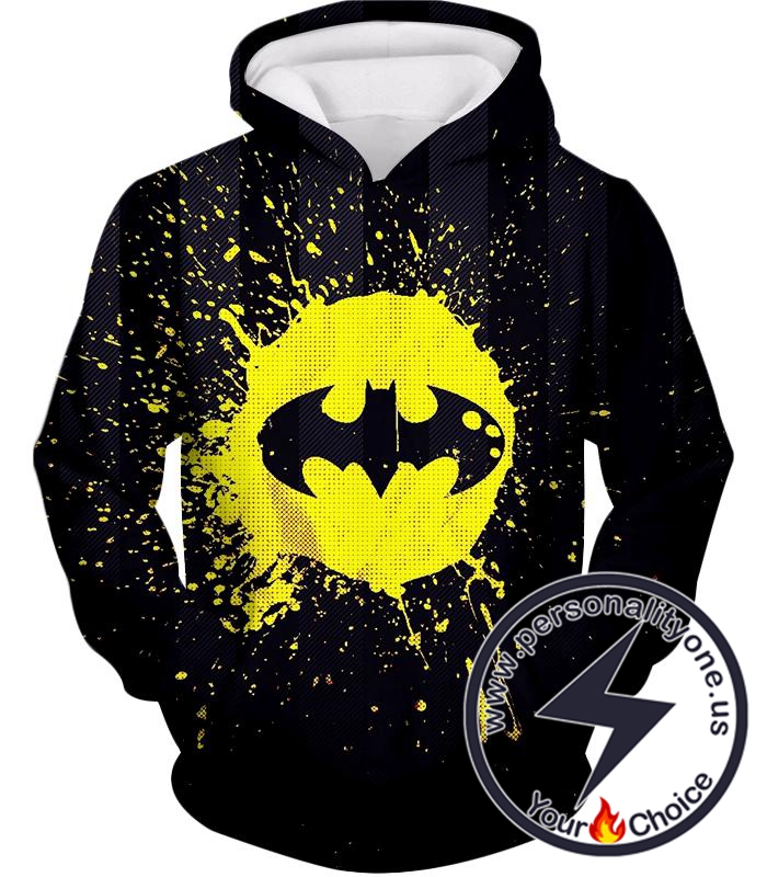 Favourite Superhero Batman Logo Splash Printed Black Hoodie