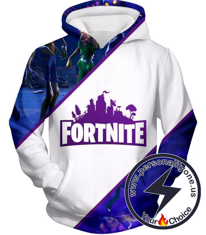 Fortnite Hoodie White and Purple Promo
