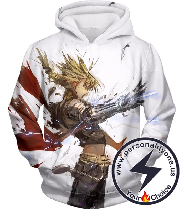 Fullmetal Alchemist Awesome Anime Art Edward Elrich Action Pose Cool White Hoodie